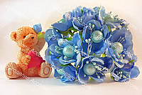 Цветы с жемчуженой  4см голубого цвета 3шт/уп