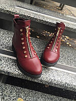 Стильные демисезонные ботинки. Цвет марсала