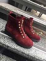 Замшевые демисезонные ботинки. Цвет марсала