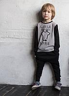 Футболка Little Hippie а с длинным рукавом. Серая с черным. Унисекс. Размеры: 86, 92 см, фото 1