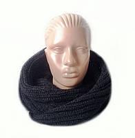 Шарф-снуд(хомут) вязаный черного цвета, фото 1