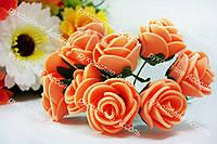 Розы из латекса персикового цвета на стебле диаметр 2-2.5 см упаковка 12 штук
