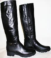Сапоги зимние женские Cluchini 3493 черные, кожа, толстая подошва, низкий каблук, замочек до верха, европейка.