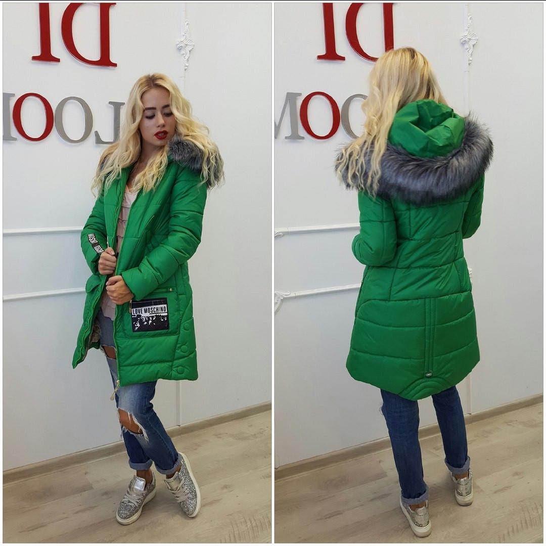 Удлинённая зимняя женская куртка зелёная — купить недорого в ... 14de7e2c640