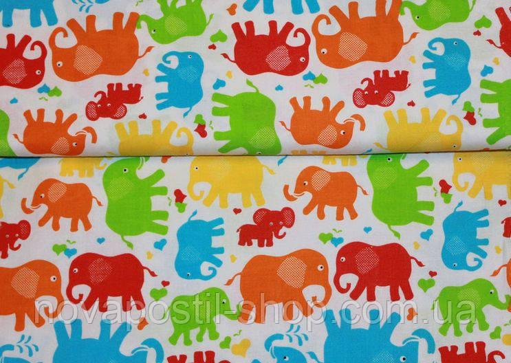Детское постельное белье Слоники Цветные 2 (100% хлопок)