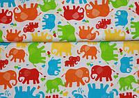 Детское постельное белье Слоники Цветные 2 (100% хлопок), фото 1