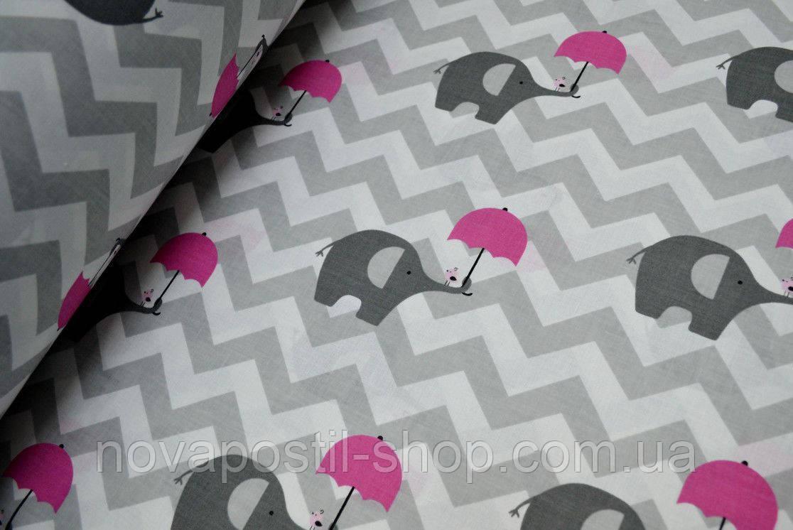 Детское постельное белье Слоники-Зонтики 1 (100% хлопок)