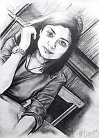 Портрет фотография для девушки на годовщину ручная работа карандашом оригинальный сюрприз на 8 марта