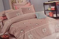 Детское постельное белье из сатина Китти Клеточка беж