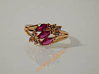 Кольцо с розовым камнем, размер 16 позолота 2-017