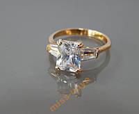Кольцо с камнем, размер 16 ювелирная бижутерия позолота 2-004
