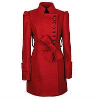 Пальто с широким поясом и воротником-стойка