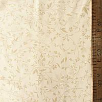 Сатин Люкс с нежным бежевым цветочком на бежевом фоне, ширина 220 см, фото 1