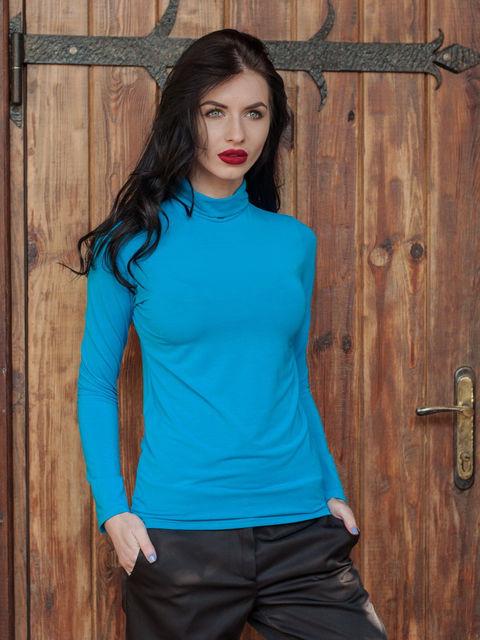 Оригинальный женский гольф ярко-синего цвета