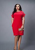 Нарядное женское платье красного цвета. В наличии 54-56