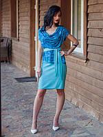 Нарядный женский костюм бирюзового цвета под поясок