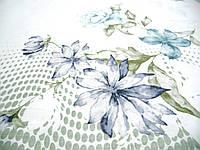 Сатин с голубыми цветами на сером фоне, ширина 235 см, фото 1