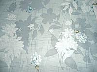Сатин с серыми цветами на сером фоне, ширина 235 см, фото 1
