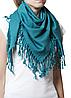 Однотонный бирюзовый шерстяной платок