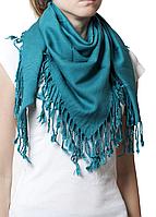 Однотонный бирюзовый шерстяной платок, фото 1