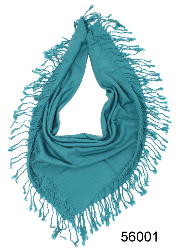 Однотонный бирюзовый шерстяной платок 2
