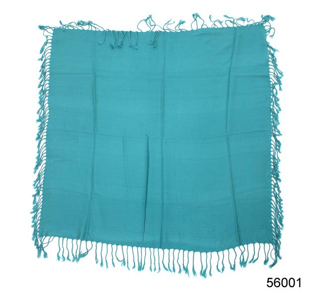 Однотонный бирюзовый шерстяной платок 4