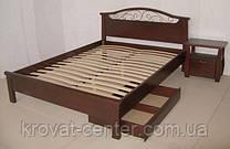 """Кровать """"Фантазия - 2"""" (190*140), с ящиками, массив - ольха, покрытие - """"итальянский орех"""" (№ 462)"""