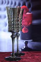 Свадебные бокалы из толстого стекла Диамант.Франция. Графит, фото 1
