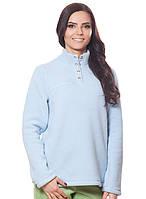 Женская,теплая,флисовая зимняя кофта голубого цвета со стойкой.Не дорого