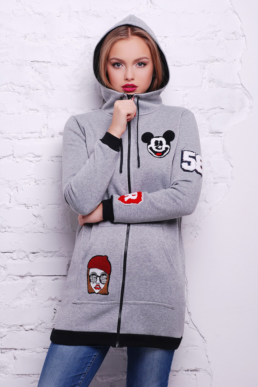 ba100f4edc5 Спортивная молодежная кофта с нашивками - Интернет - магазин модной одежды  и аксессуаров