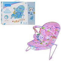 Детский шезлонг-качалка М 1103 Дельфин (розовый, голубой) КК