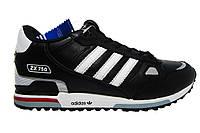 Мужские  кроссовки Adidas ZX  750, натуральная кожа, черные, Р. 41