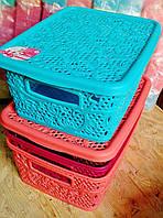 Коробка ажурная с крышкой, для всякой -всячины бытовая, р-р 260мм*200мм*110мм .  Розовая, мята, коричневая., фото 1