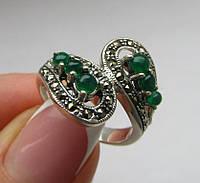 Серебяное кольцо с халцедонами и марказитами. Индия