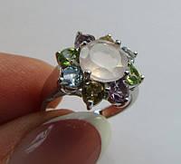 Кольцо с розовым кварцем (8мм), топазом, аметистом, цитрином, перидотом