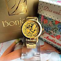 Мужские часы с золотым ремешком Skeleton