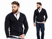 Мужской стильный пуловер на пуговицах\ темно-синий