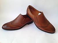 Мужские кожаные туфли с перфорацией фабрики ''Ikos'' коричневого цвета