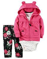 Теплый детский комплект тройка (штанишки+боди футболка+теплая флисовая кофточка)для девочки Картерс