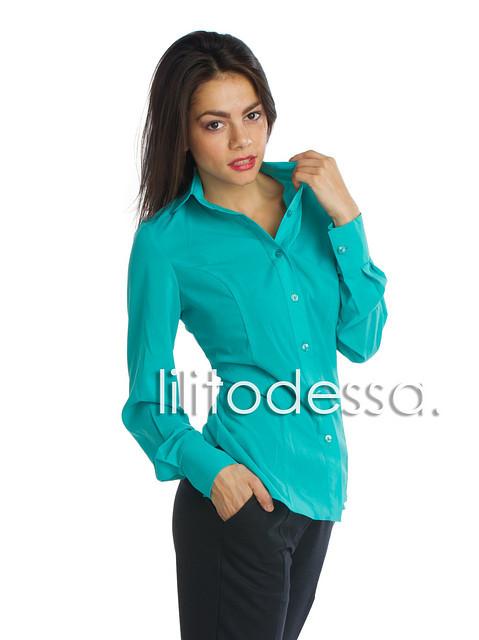 Блуза с круглым воротником бирюзовый