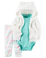 Детский комплект 3в1(флисовые штанишки+боди +теплая флисовая кофточка)для девочки Картерс