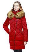 Зимове жіноче пальто з хутром єнота