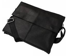 Мужская кожанная сумка под ноутбук и документы (формат А4) Alvi AV-102black, фото 3