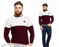 Мужской стильный пуловер 430\ белый с бордо