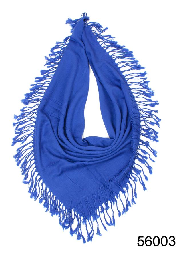 Однотонный синий шерстяной платок 2
