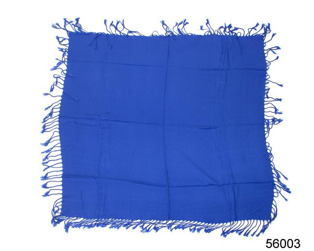 Однотонный синий шерстяной платок 4