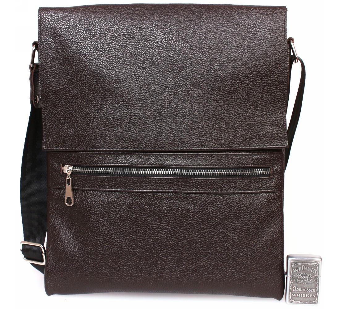 Мужская наплечная сумка формата A4 кожаная Alvi AV-93brown