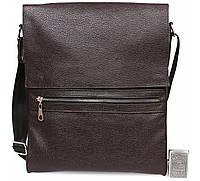 Мужская наплечная сумка формата A4 кожанная Alvi AV-93brown