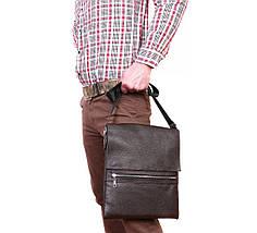 Мужская наплечная сумка формата A4 кожаная Alvi AV-93brown, фото 2