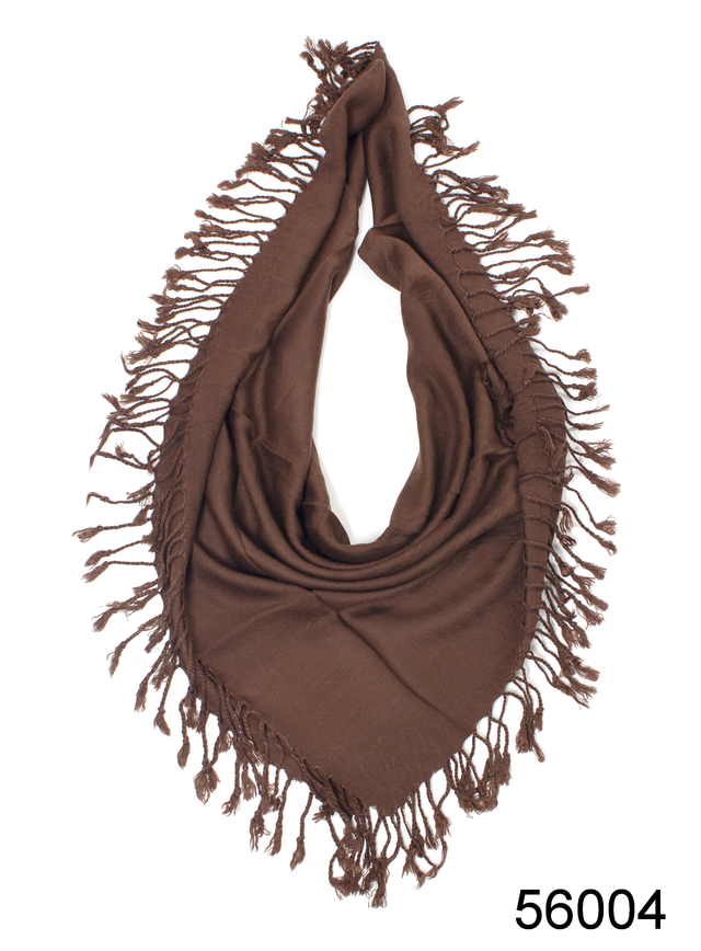 Однотонный коричневый шерстяной платок 2